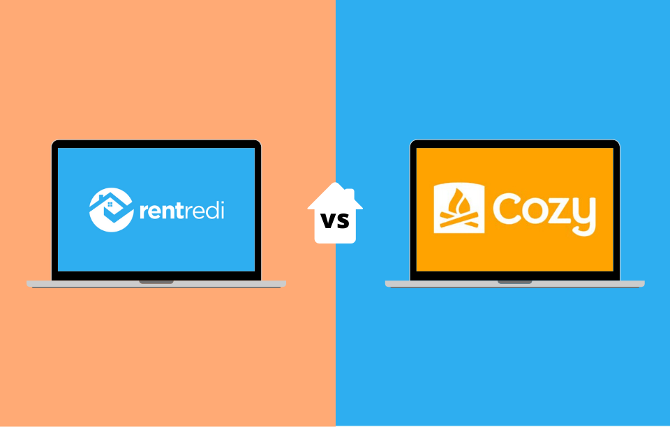 property management solution / rentredi reviews image: rentredi logo on a laptop vs a cozy logo on a laptop