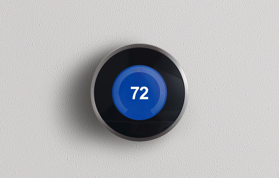 smart thermostats image: picture of a smart thermostat set at 72 degrees
