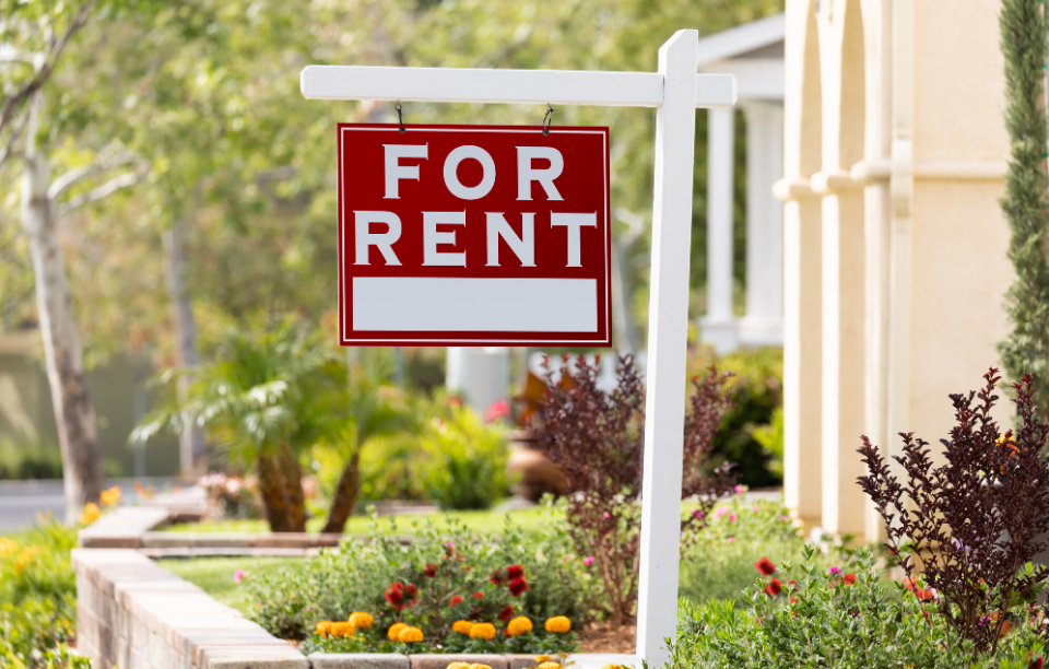 "red ""for rent"" sign used on houses or apartments for rental listings"
