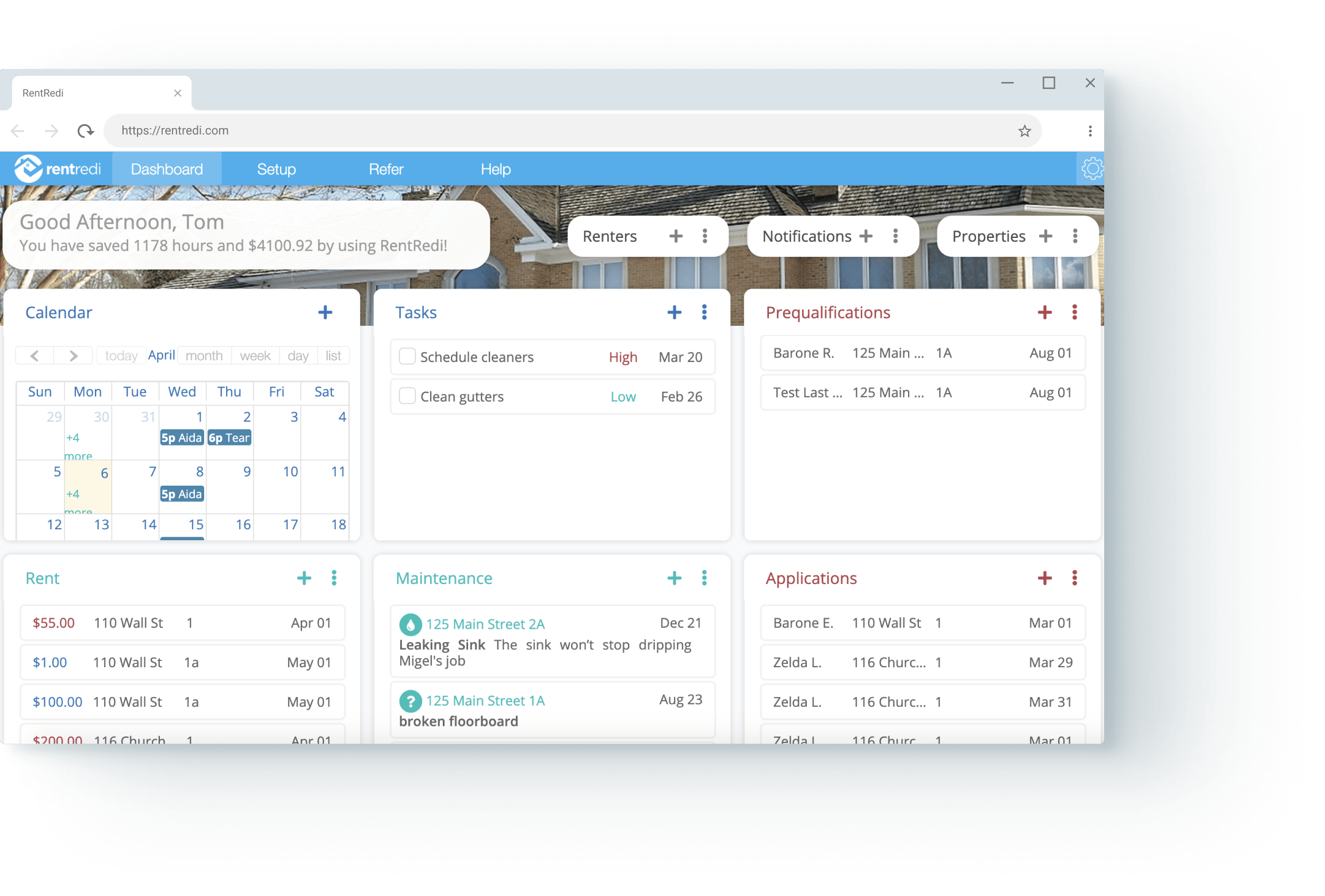 rentredi app browser view
