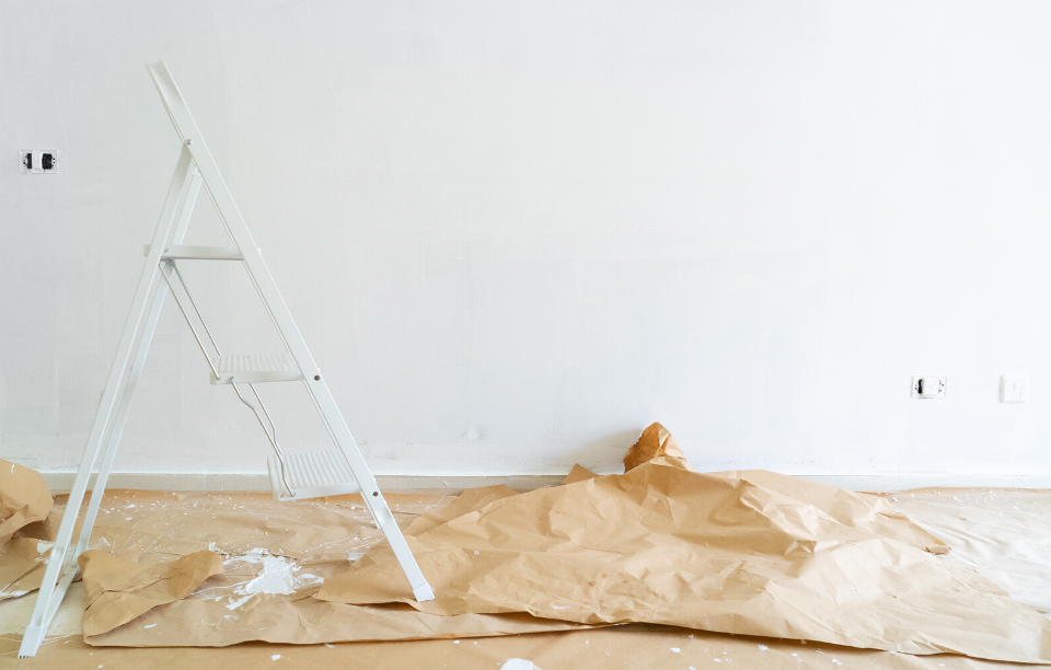 improving the appeal of your rental image: white ladder next to freshly painted white wall