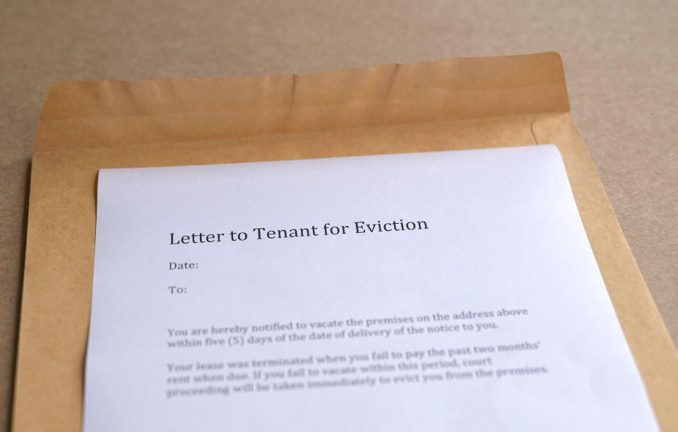 evict a tenant: letter to tenant that says letter to tenant for eviction