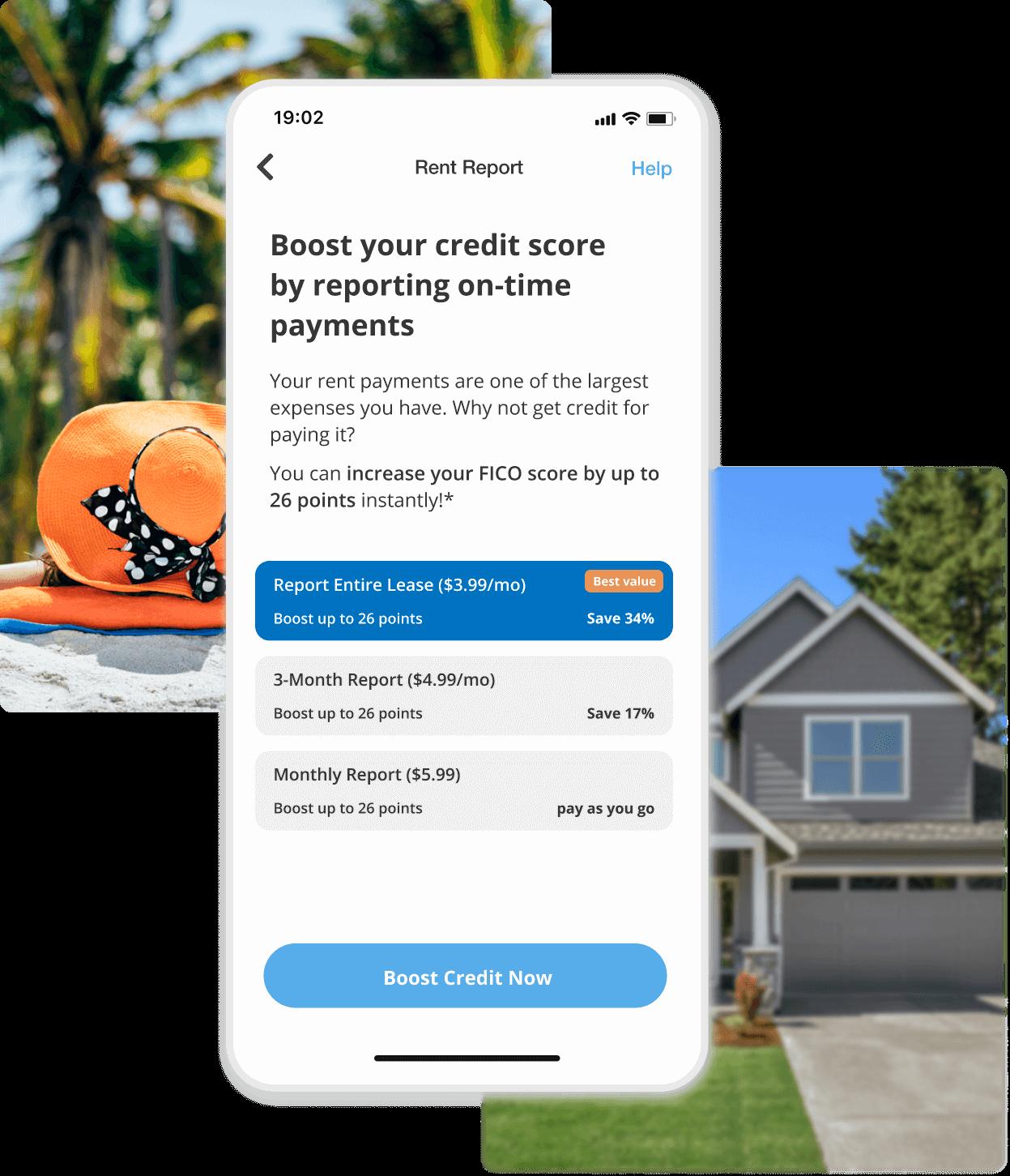 image shows rentredi tenant app rent reporting screen