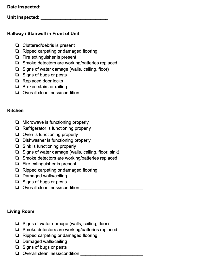 Example of a rental inspection checklist from RentRedi