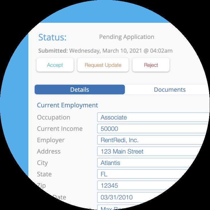 rentredi applications screenshot
