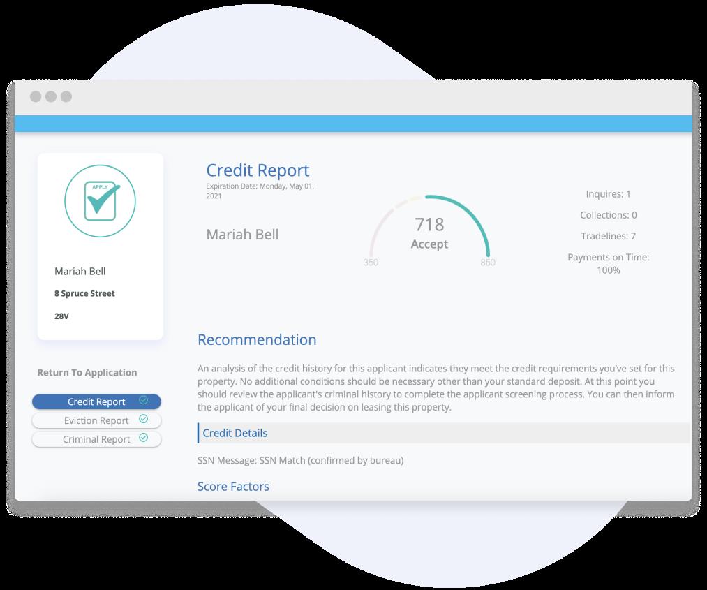 image shows rentredi landlord web app screenshot of tenant's credit report