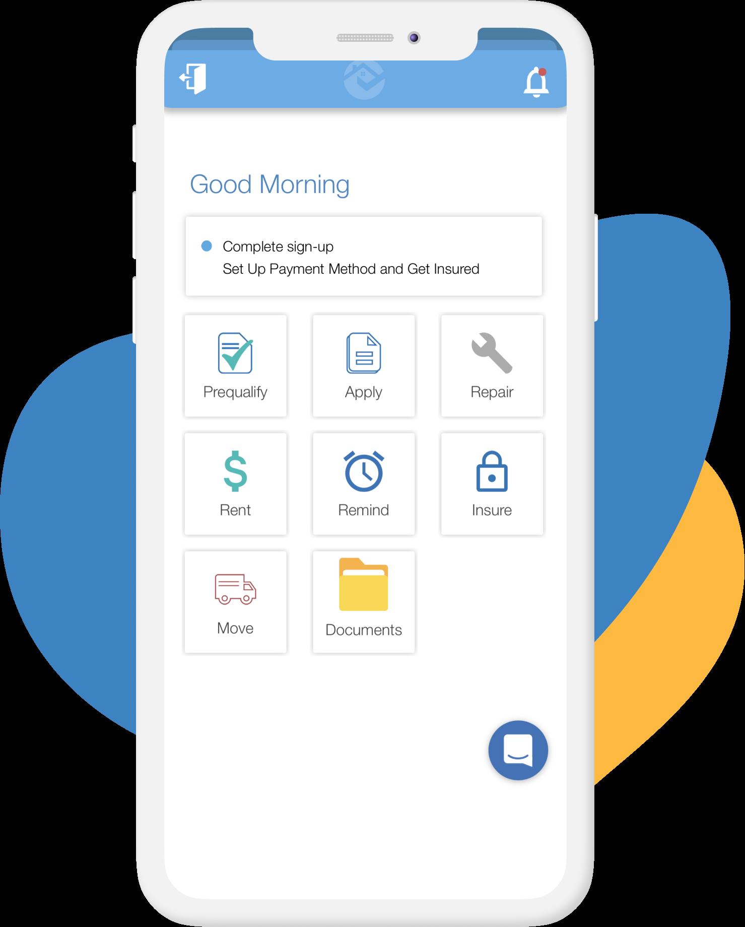 rentredi tenant app home screen