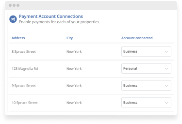 payment account connections screen