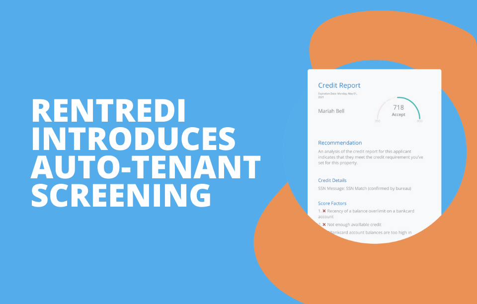 text reads: RentRedi introduces auto-tenant screening feature