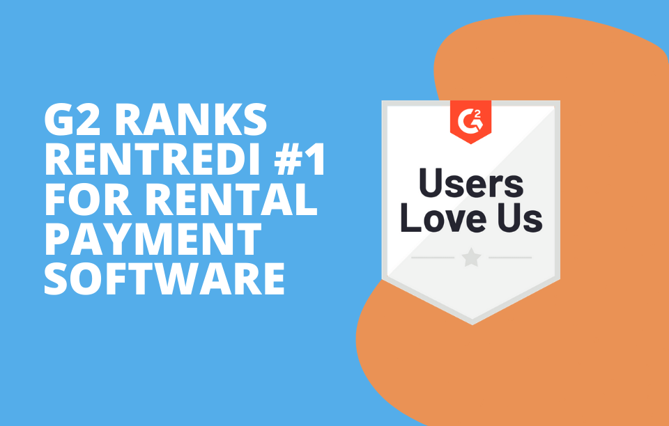 text reads: G2 ranks rentredi #1 for rental payment software
