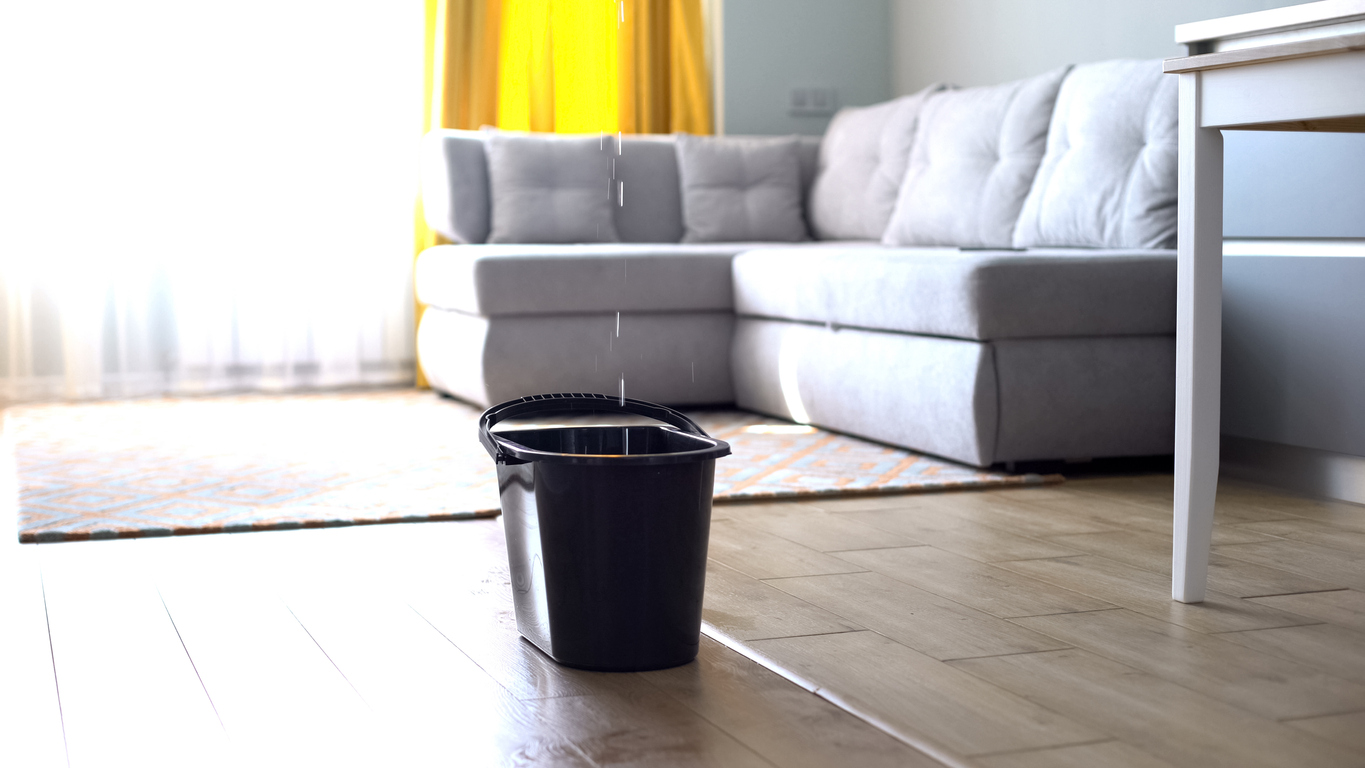 Landlord Preventative Maintenance Inspection Checkllist hero image: blacck bucket sitting on floor to catch water from a leak