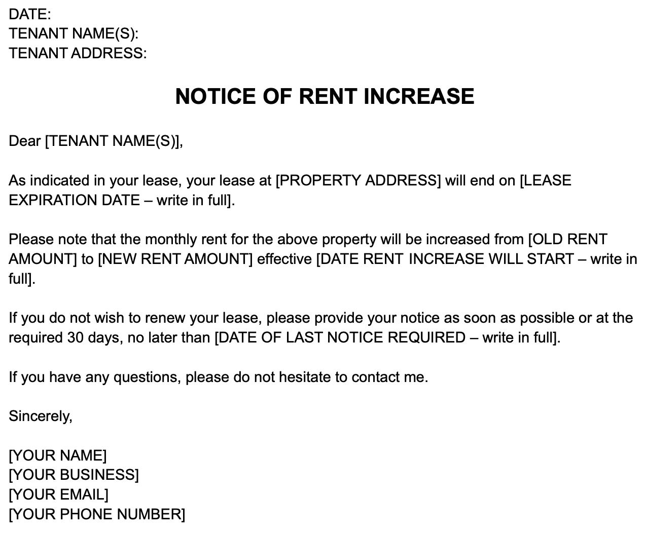 Images shows text of an example of how to write a rent increase notice