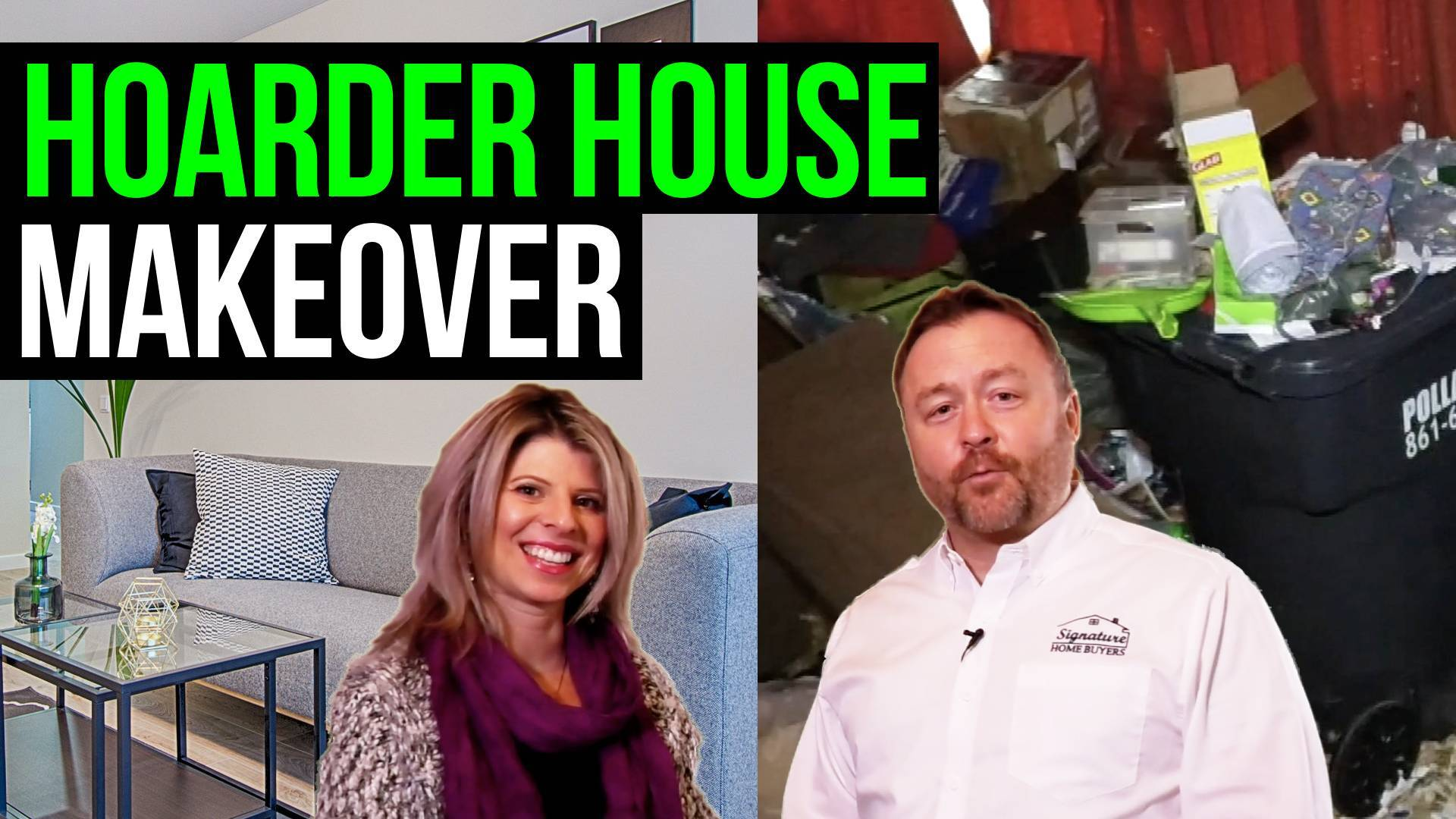 image text reads: hoarder house makeover & renovation