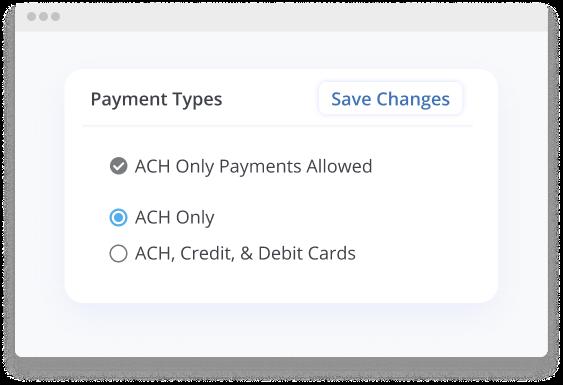 rentredi payment types screen