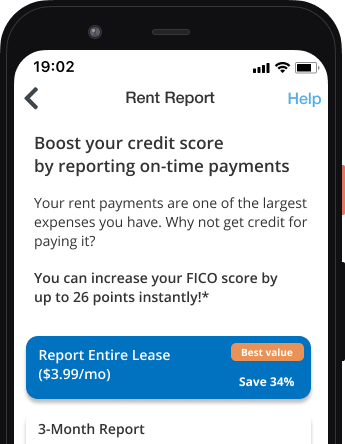 For tenants: report my rent payments to credit bureaus by signing up for RentRedi's credit boost