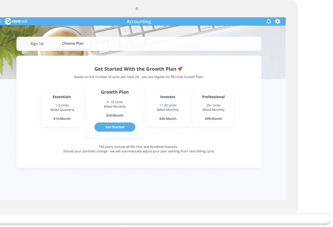 image shows rentredi web app portal with rei hub accounting plan and pricing options