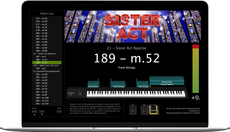 Sister Act - Screen Shot - MainStage keyboard programming for rent