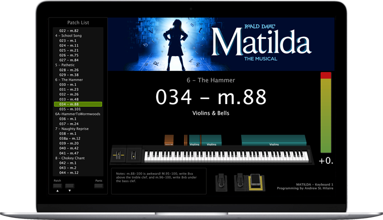 Matilda - Screen Shot - MainStage keyboard programming for rent