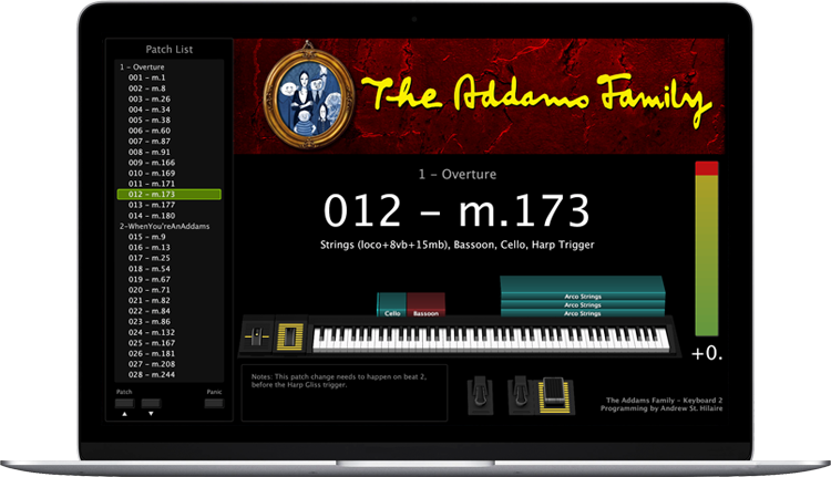 The Addams Family - Screen Shot - MainStage keyboard programming for rent