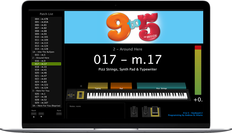 9 to 5 - Screen Shot - MainStage keyboard programming for rent