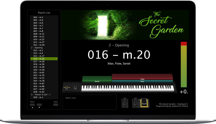The Secret Garden - Screen Shot - MainStage keyboard programming for rent