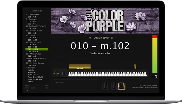 The Color Purple - Screen Shot - MainStage keyboard programming for rent
