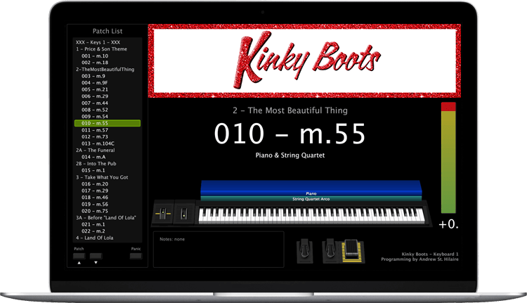 Kinky Boots - Screen Shot - MainStage keyboard programming for rent