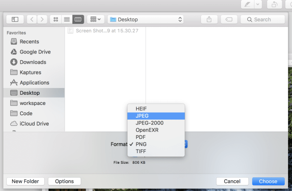 Converting PNG to JPEG with the Preview app
