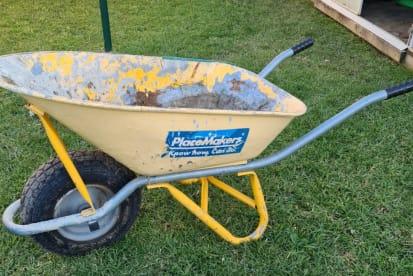 Steel Bin thick wheel contractors wheelbarrow