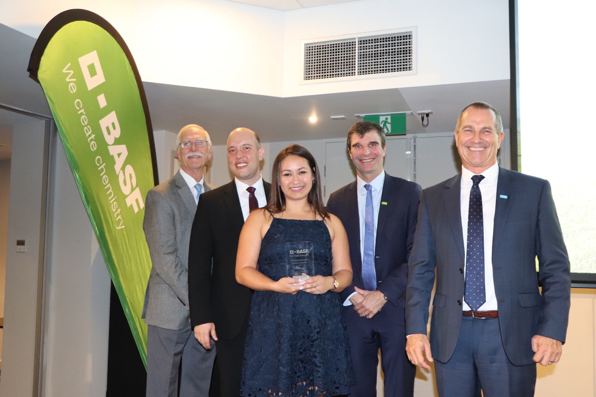 Kathleen accepts BASF excellance award