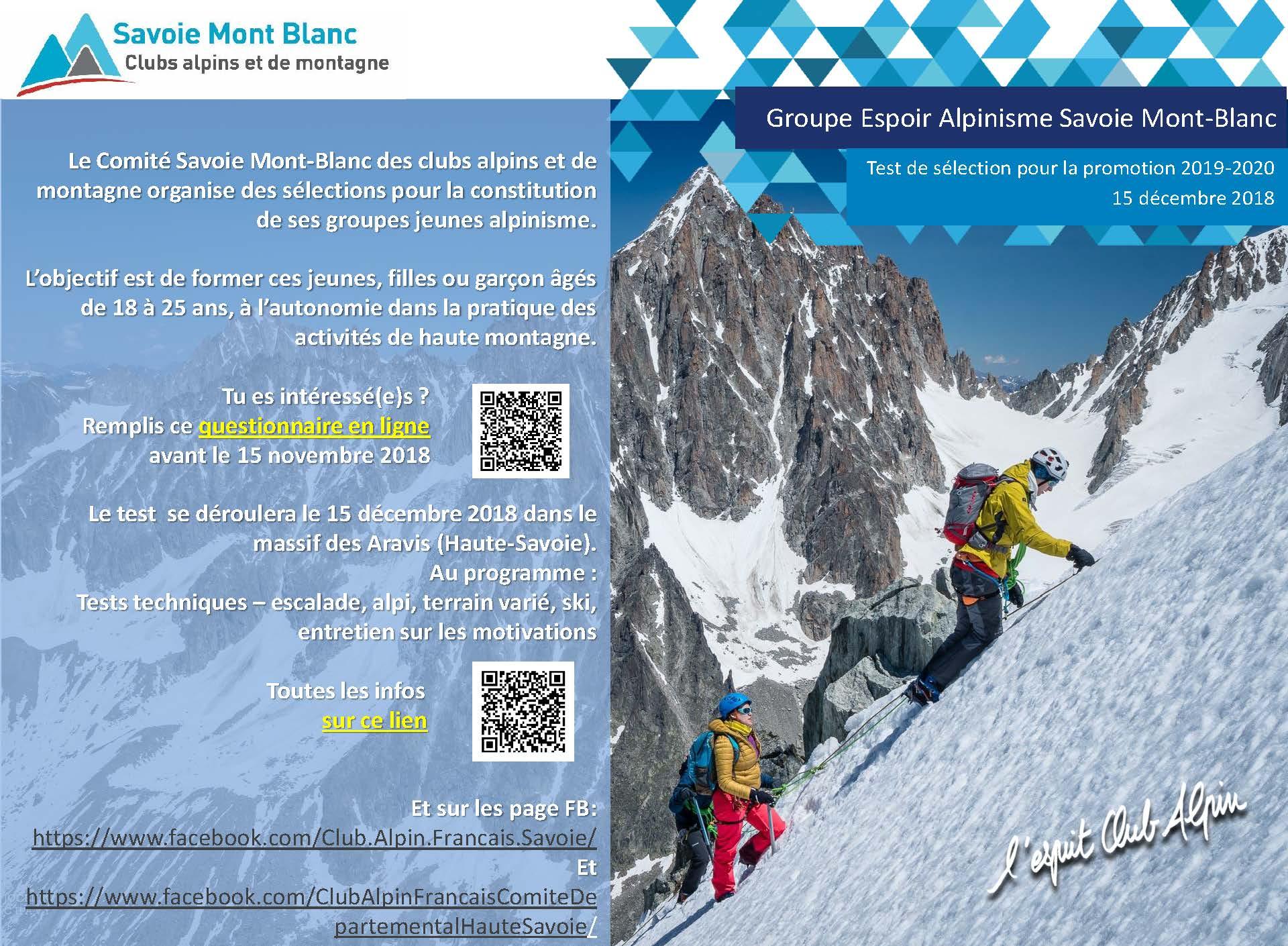 Selection groupe Espoir Alpinisme