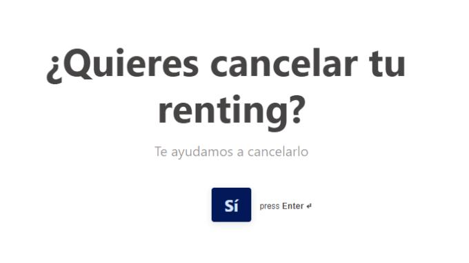 cancelación de renting