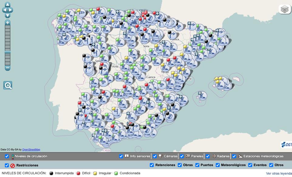 mapa estado carreteras dgt