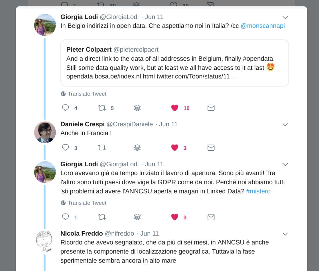 Uno scambio interessante su Twitter a proposito di dati non dati
