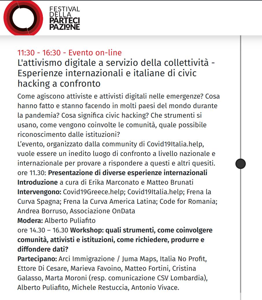 Screenshot del programma dal sito del Festival della Partecipazione