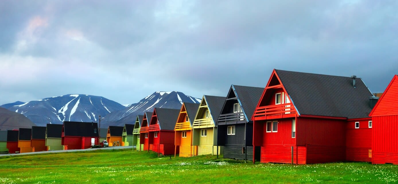Colourful houses, Longyearbyen (Spitsbergen), Norway