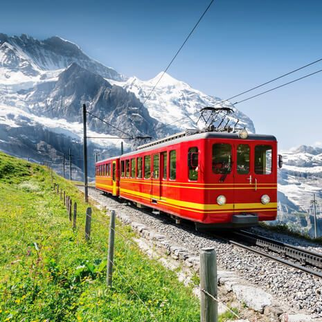 Train travelling through the Jungfrau Mountains