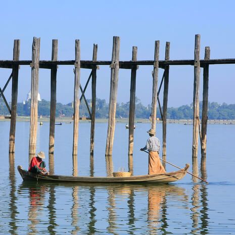 Fishermen near U Bein Bridge, Amarapura