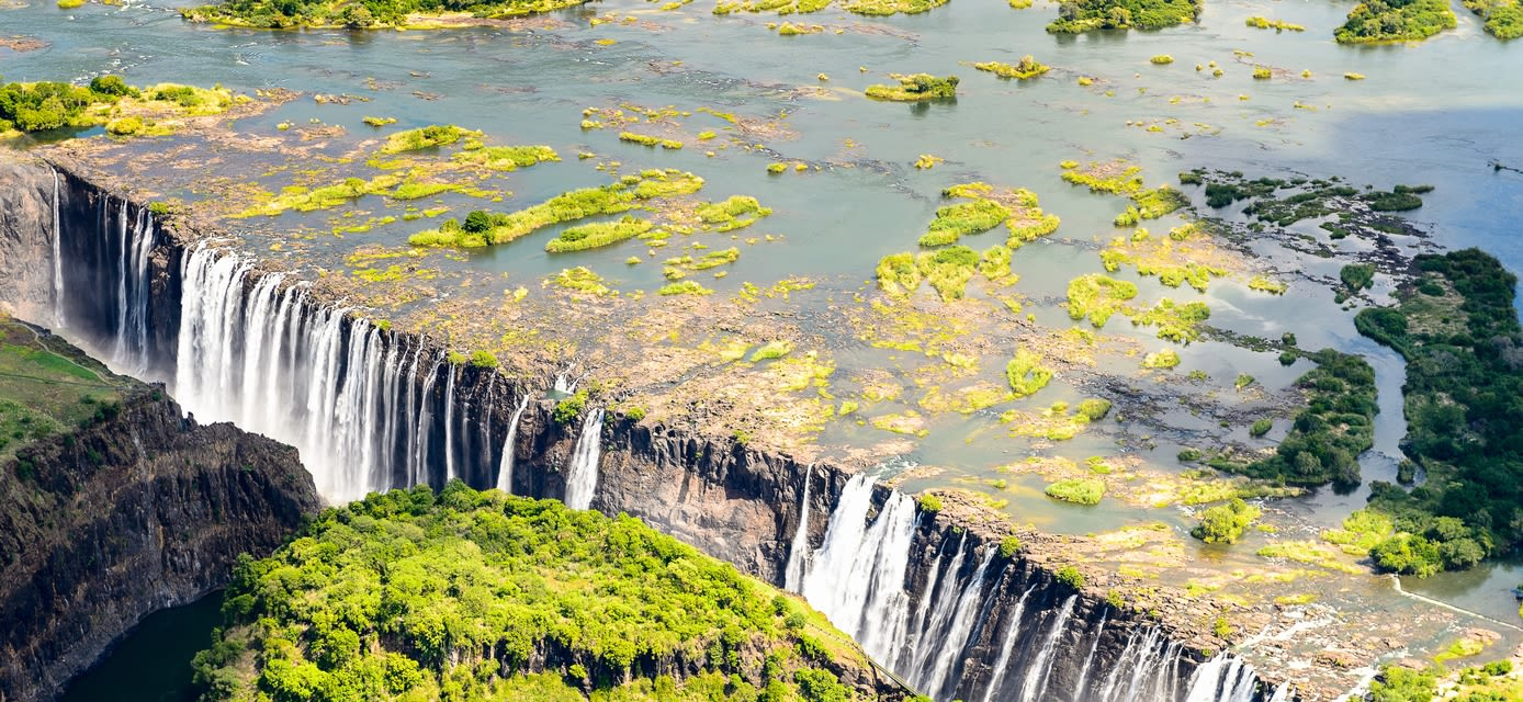 View of the Victoria Falls between Zambia and Zimbabwe, a UNESCO World Heritage site