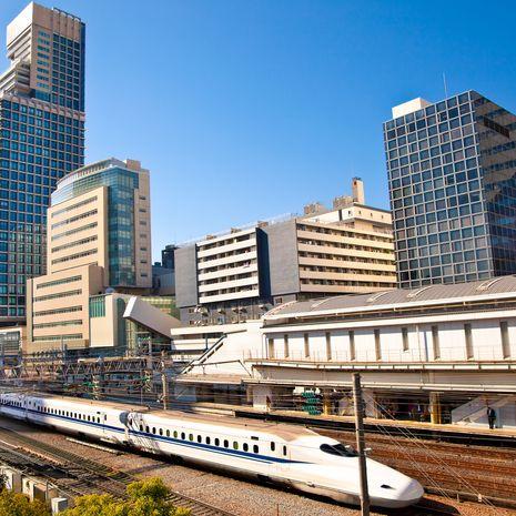 Railway with skyline shinkansen at Odaiba, Tokyo