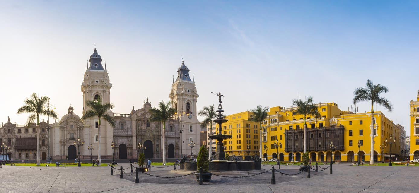 Panoramic view of Plaza de Armas, Lima