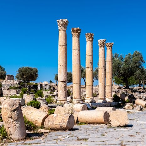 Columns of the ancient city of Gadara Modern, Jordan