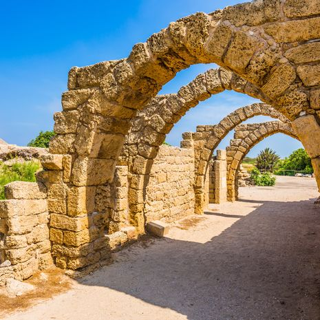 Arched passage ruins of the ancient city of the Port of Caesarea
