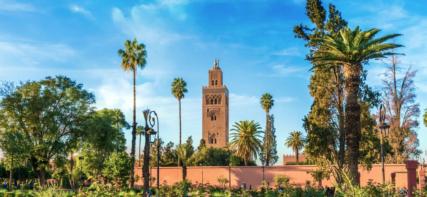 View of Koutoubia Mosque and gardem in Marrakesh