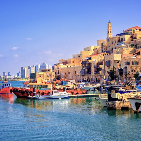 Old town and port of Jaffa and Modern Skyline of Tel Aviv