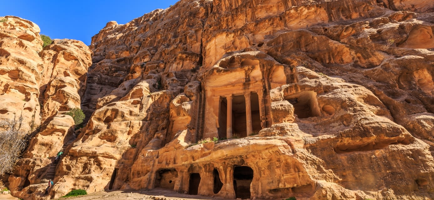 Caved buildings of Little Petra in Siq al-Barid