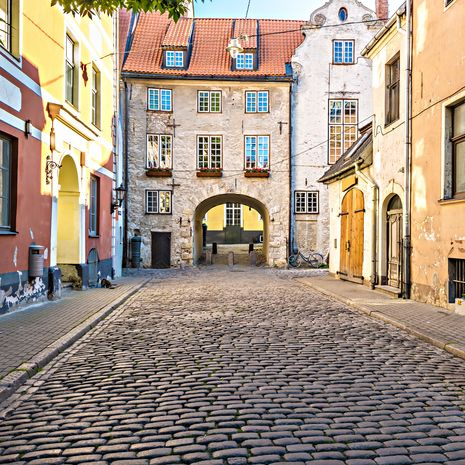 Medieval street in old Riga city