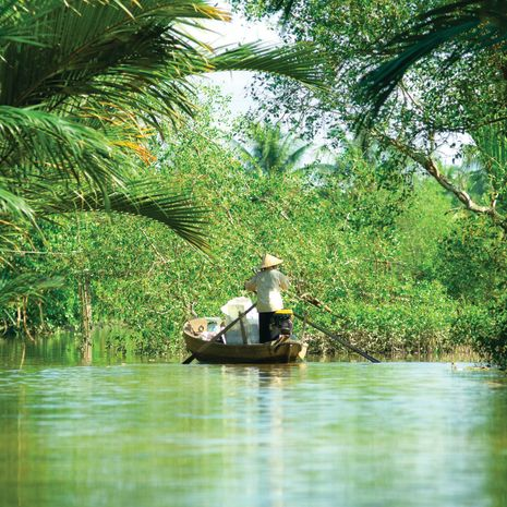 Woman rowing a boat, Mekong Delta, Vietnam