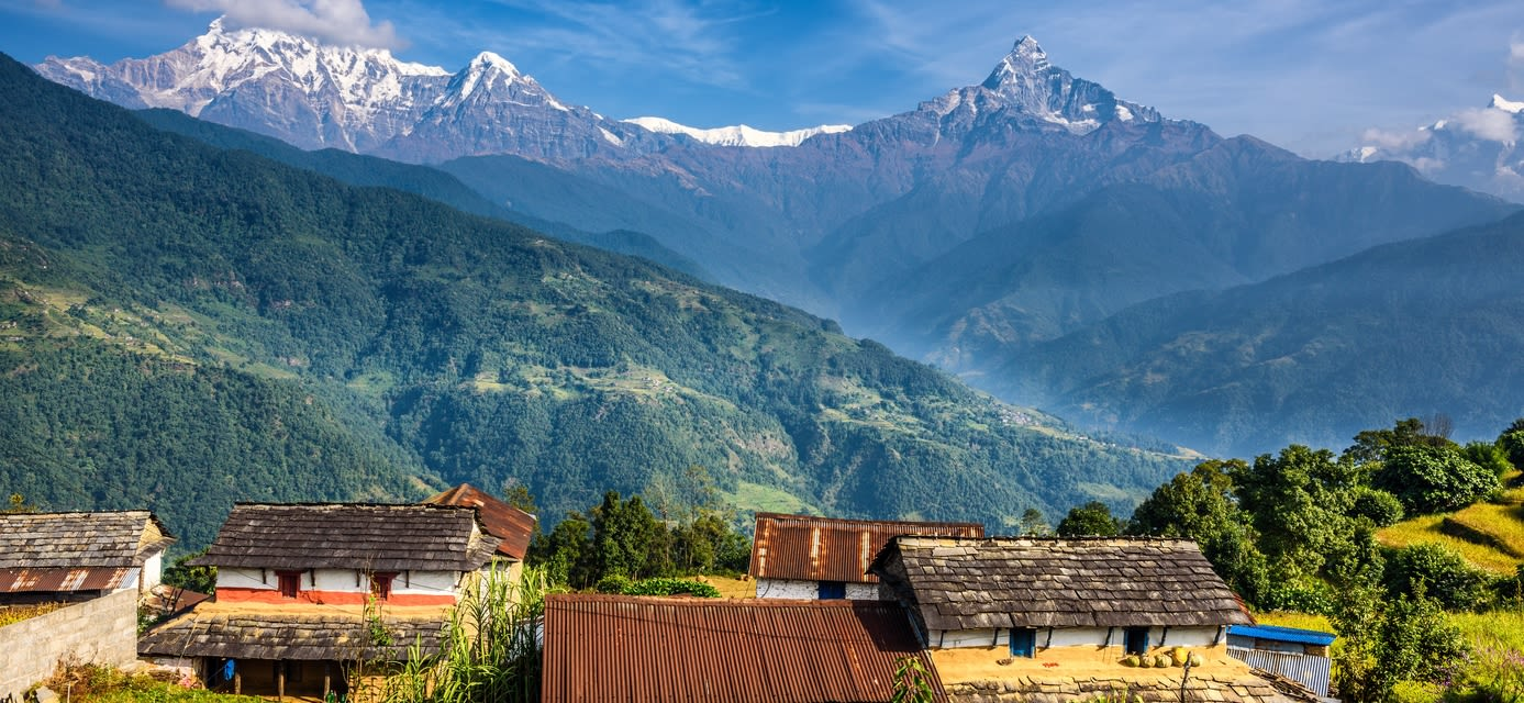 Village in the Himalayas, Pokhara, Nepal