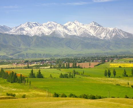 View of Bishkek city with the Tian Shan mountains, Kyrgyzstan